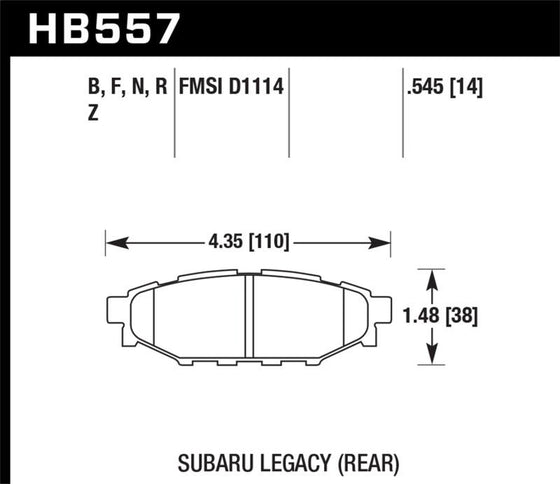 Hawk 08 WRX Rear HPS Street Brake Pads