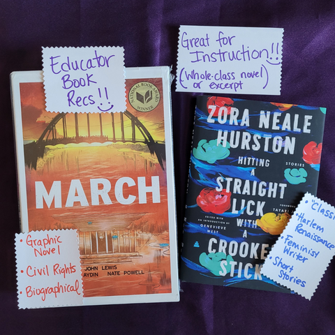 Great Classroom Library additions, Black YA books, March Graphic Novel Trilogy by John Lewis, Hitting a Straight Lick with a Crooked Stick by Zora Neale Hurston, Book of the Month, Monthly Book Box, Diverse Books
