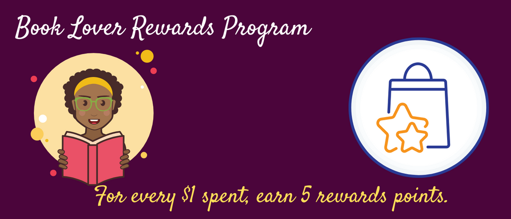 Book Lover Rewards Program; shop book of the month and gifts/accessories for book lovers and readers and earn rewards points; redeem reward points for savings on next purchase.