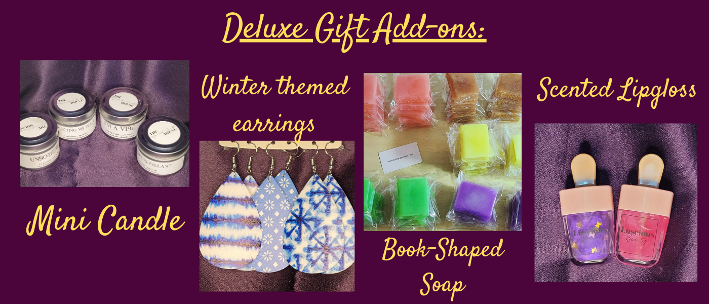 Deluxe BOTM Special Gift Add-ons: Mini Candle, Winter themed faux leather earrings, natural book-shaped, scented soap, and scented, natural lip gloss.