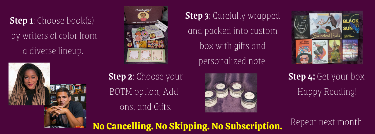Tuma's Book of the Month Box service: How it works.