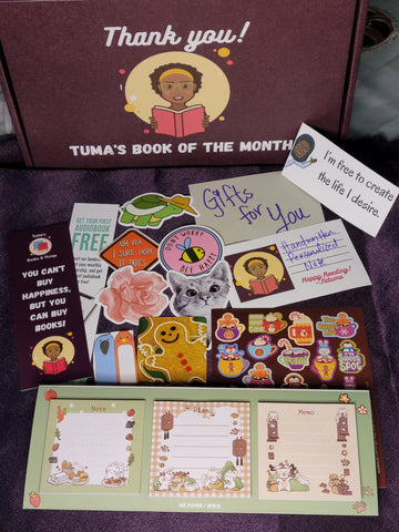 Tuma's Book of the Month Box- Classic Box with small, cute gifts.