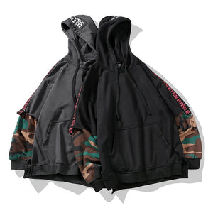 Two Pieces Camouflage Hip HopHoodie Loose Streetwear Coat