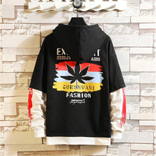 Load image into Gallery viewer, Two pieces 90´s Grunge Style Cannabis Long-sleeved Hooded Shirt