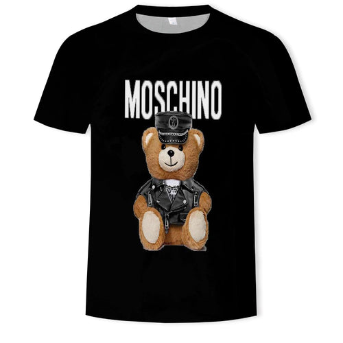 Print of Moschino Leather Teddy Bear TShirt Women