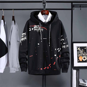 Hoodie Hip Hop Letter Printing Loose Long and Thin Coat  Style