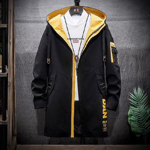 Long Style Hooded Men's Jacket Letter Printing Warm Coat