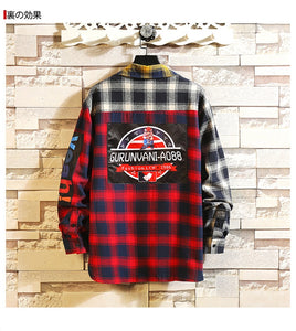 Plaid Men Long Sleeve Shirt Loose Japanese Fashion