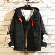 Load image into Gallery viewer, Men Casual Jacket Overalls Hooded Black and in White Letter Print  Anorak