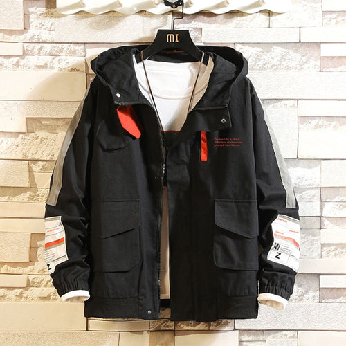 Men Casual Jacket Overalls Hooded Black and in White Letter Print  Anorak