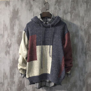 Long Size Knitwear Cotton Pullover Loose Hooded