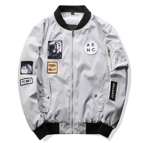Men Bomber Jacket Water proof Patch Designs Slim Fit