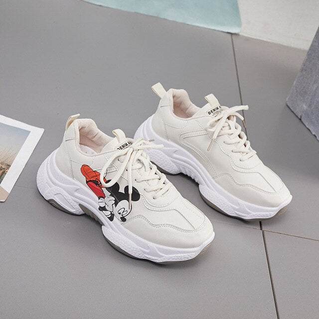 Casual Shoes Female Disney Mickey Cartoon Platform Sneakers