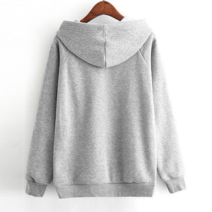Hoodie Girls Cute Panda Hat Tunic Gray Harajuku