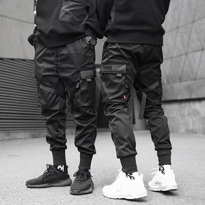 Black Pocket Cargo Pants Hip Hop Trousers