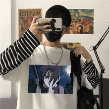 Load image into Gallery viewer, Japan Harajuku Naruto Men Printed Male T Shirt Top Tee Male Hiphop Streetwear False Two Pieces Long Sleeve Tshirts Tees Tops