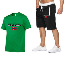 Load image into Gallery viewer, Napapijri Print of 2-piece tracksuit set T-shirt and shorts men's no tags