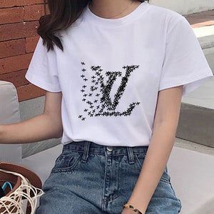 New Women's T-shirt Airplane Graphic Print T-shirt Women Funny Mouse Harajuku Women's Short Sleeve T-shirt Fashion T-shirt Women
