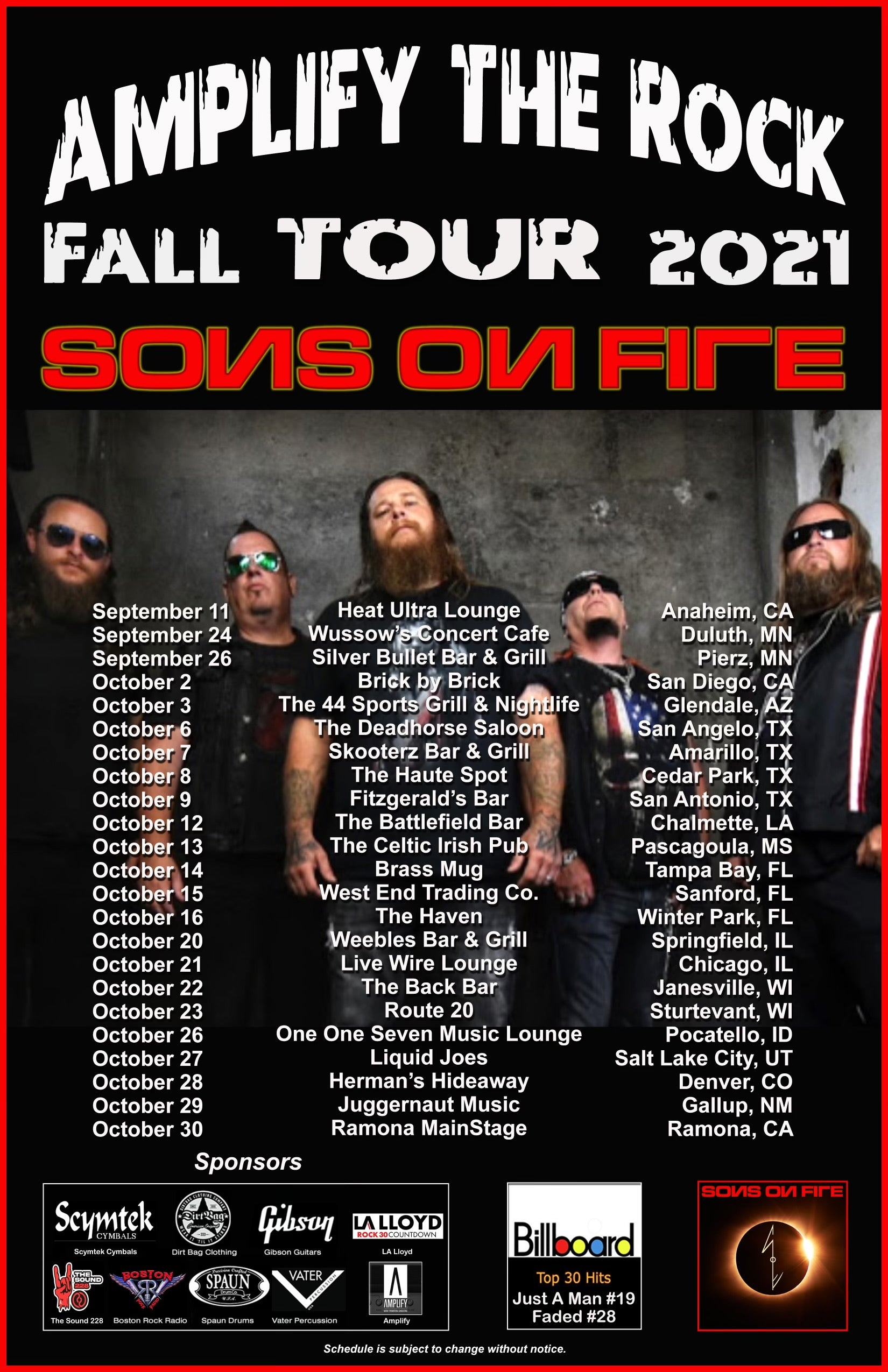 Sons On Fire - Fall 2021 Tour Schedule - Dirtbag Clothing