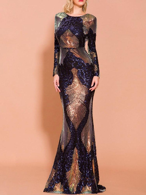 Sequins Scoop Long Sleeves Trumpet/Mermaid Evening Dress
