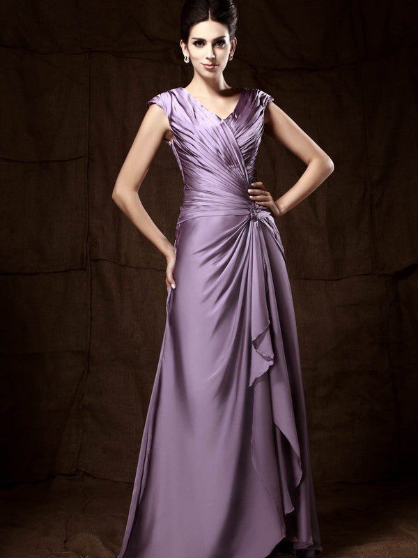 Pleats V-Neck Sheath/Column Sweep/Brush Evening Dress