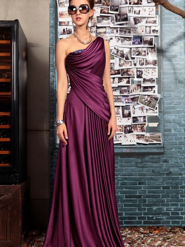 Sleeveless One Shoulder Floor-Length Beading Celebrity Dress