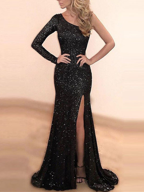 Sweep/Brush Floor-Length Sequins Trumpet/Mermaid Evening Dress