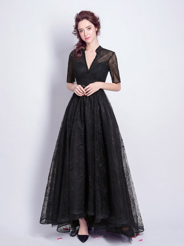 Ankle-Length V-Neck Half Sleeves Beading Prom Dress