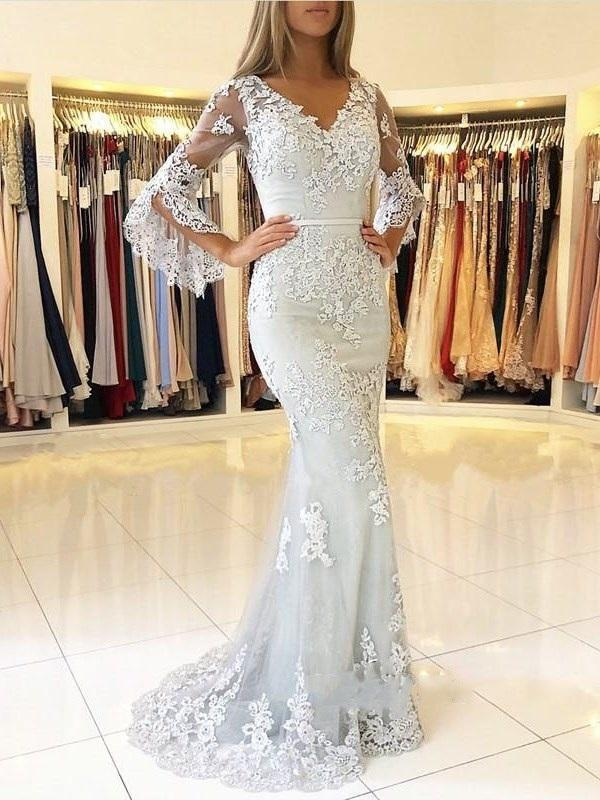 Floor-Length Long Sleeves Trumpet/Mermaid V-Neck Evening Dress