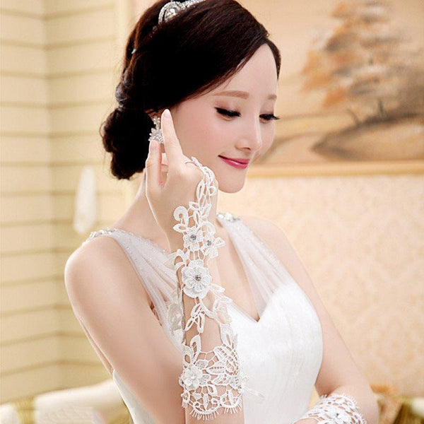 Lace Elbow Wedding Gloves