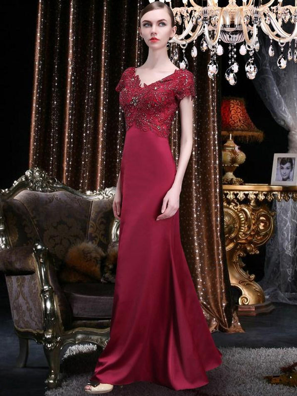 Embroidery V-Neck Sheath/Column Short Sleeves Formal Dress