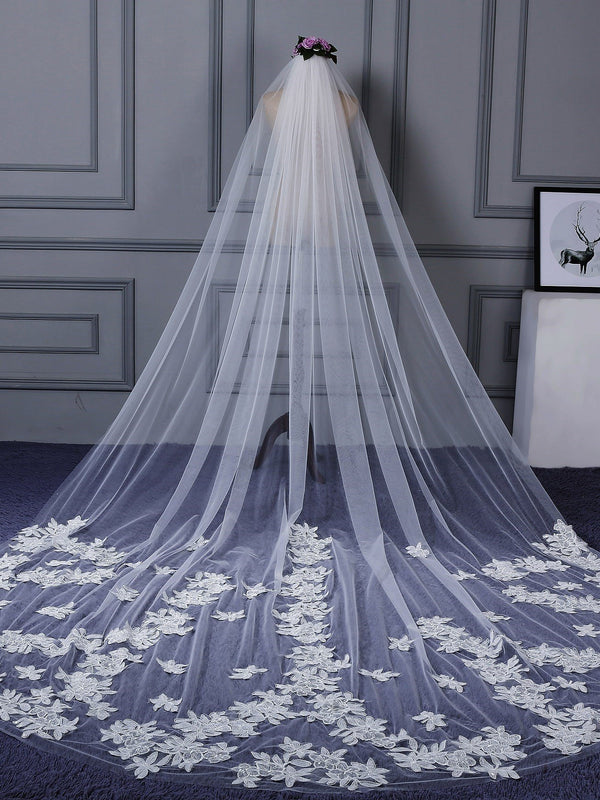 "Lace Edge Royal(≥144"") Appliques One-Layer Wedding Veil"