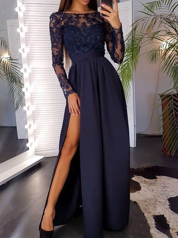 Round Neck Embroidery Floor-Length Regular Pullover Dress