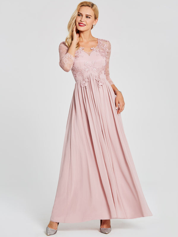 A-Line Floor-Length V-Neck Pink Homecoming Party Dress