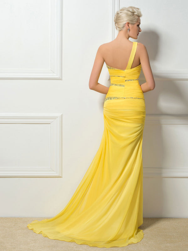 Sequins Sleeveless One Shoulder Floor-Length Evening Dress
