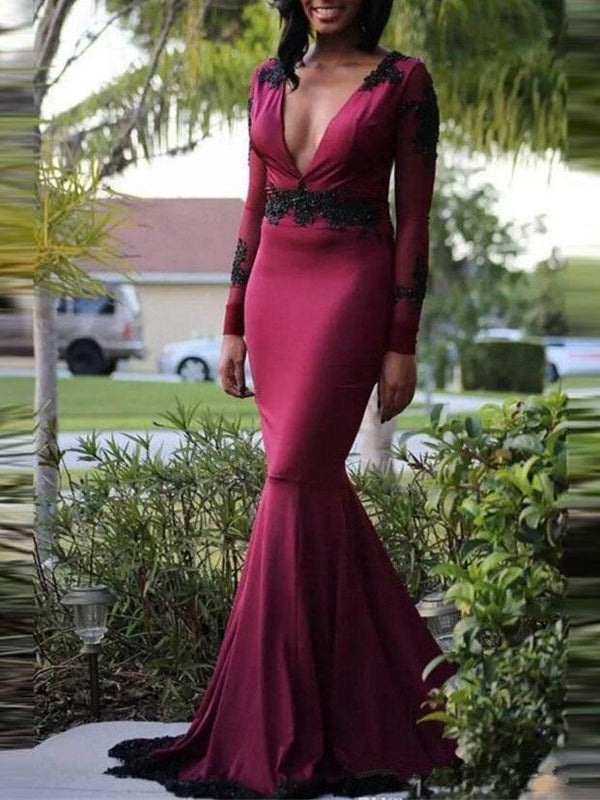 Long Sleeves Sweep/Brush Trumpet/Mermaid Appliques Evening Dress