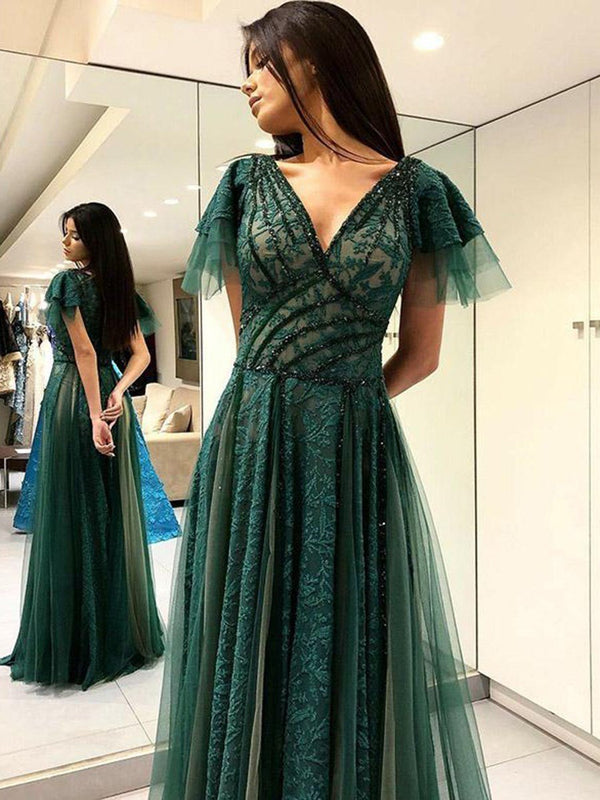 Lace Floor-Length Cap Sleeves A-Line Prom Dress