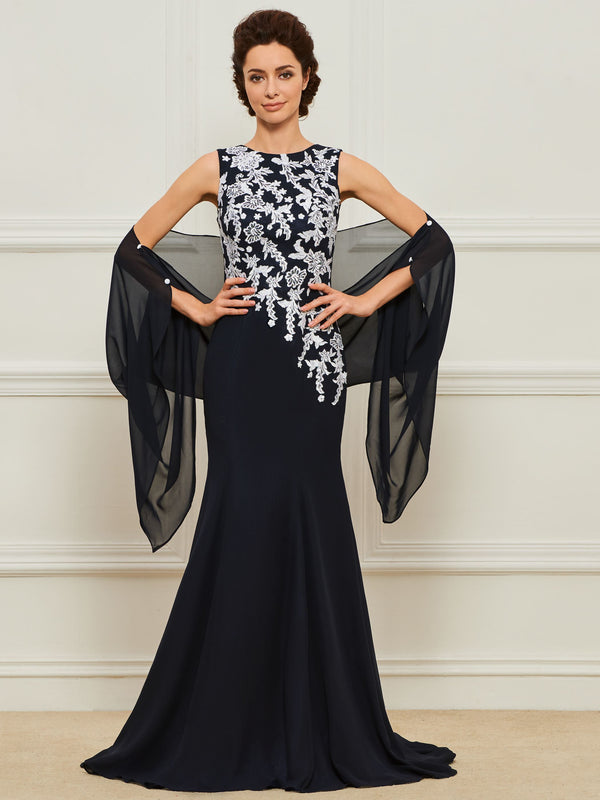 Sheath/Column Lace Scoop Floor-Length Formal Dress