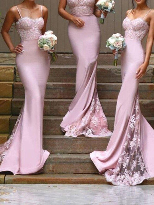 Spaghetti Straps Floor-Length Lace Sweep/Brush Wedding Party Dress