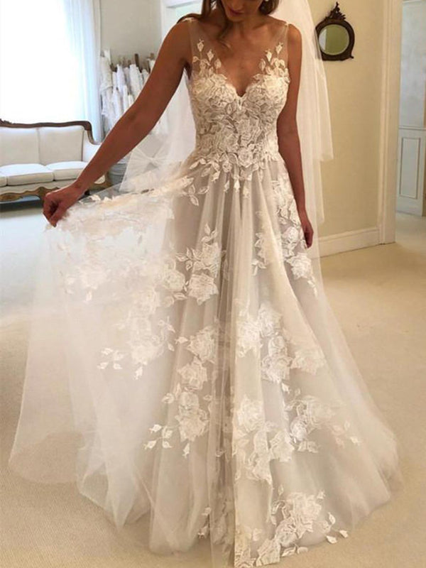 Sleeveless Floor-Length A-Line V-Neck Hall Wedding Dress