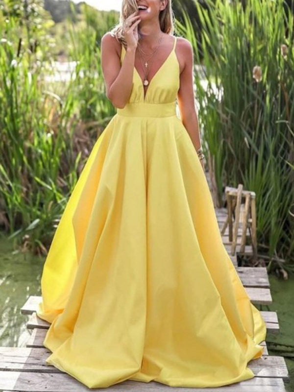 A-Line Sleeveless Floor-Length Spaghetti Straps Prom Dress