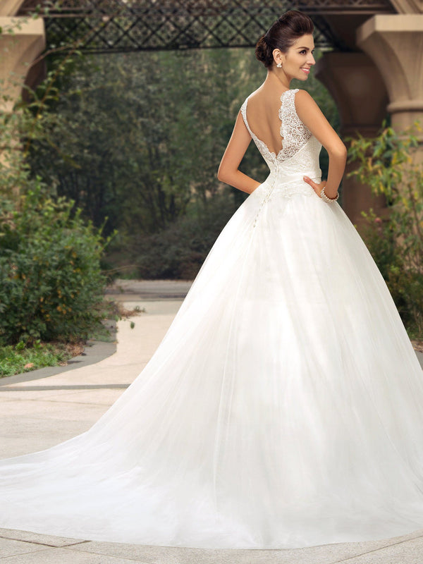 Button Sleeveless Court A-Line Church Wedding Dress