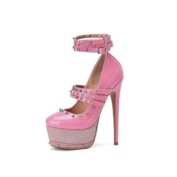 Buckle Rhinestone Round Toe Ultra-High Heel(≥8cm) Thin Shoes
