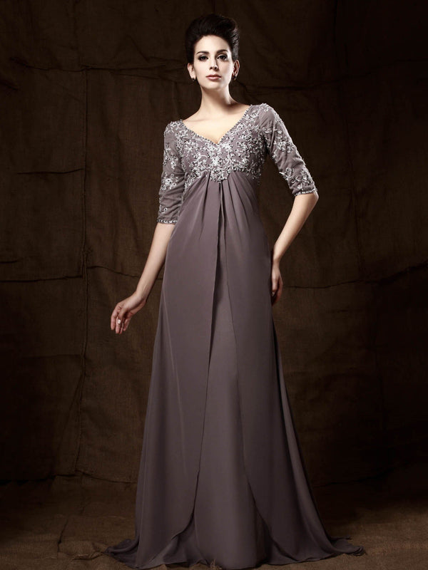 A-Line Half Sleeves Sweep/Brush Sequins Wedding Party Dress