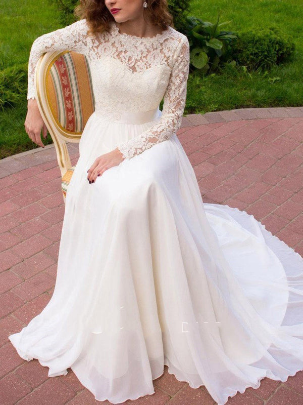 Appliques Long Sleeves A-Line Scoop Garden/Outdoor Wedding Dress