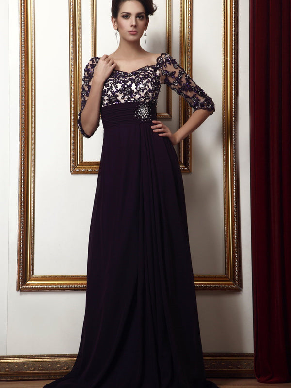Half Sleeves Floor-Length Appliques Off-The-Shoulder Evening Dress
