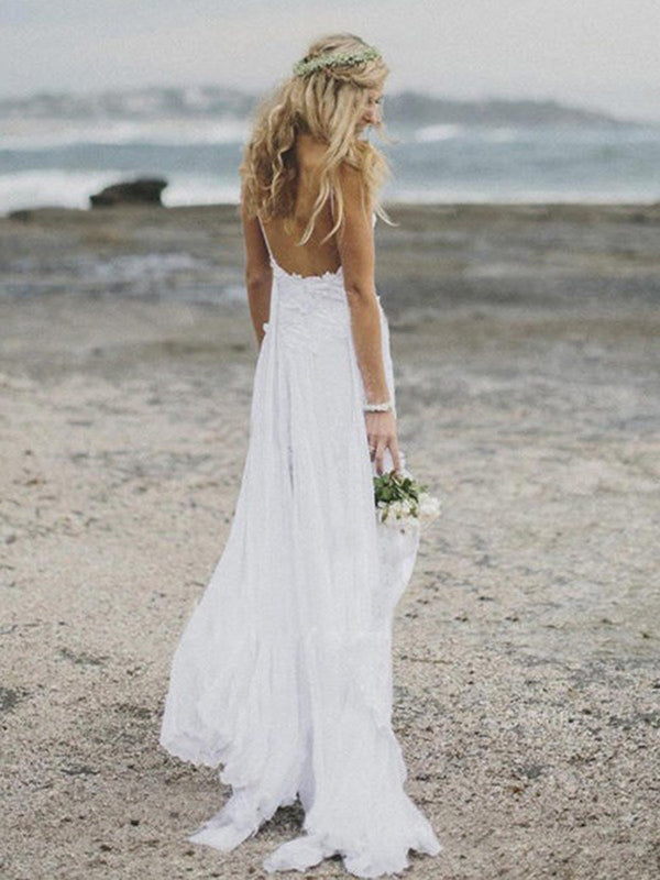 A-Line Floor-Length Sleeveless Sweep/Brush Beach Wedding Dress