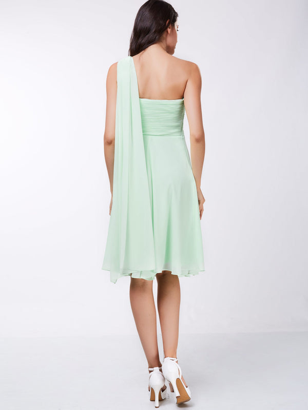 Knee-Length One Shoulder Green A-Line Holiday Party Dress