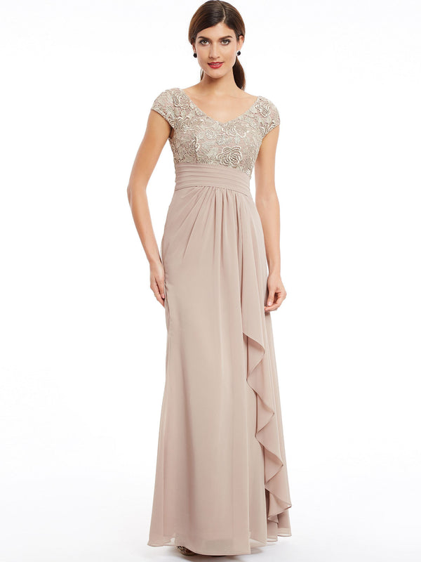 Cap Sleeves V-Neck Floor-Length Sheath/Column Wedding Party Party Dress