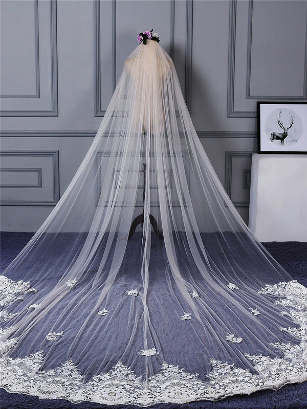 "One-Layer Applique Edge Appliques Cathedral(100""-120"") Wedding Veil"